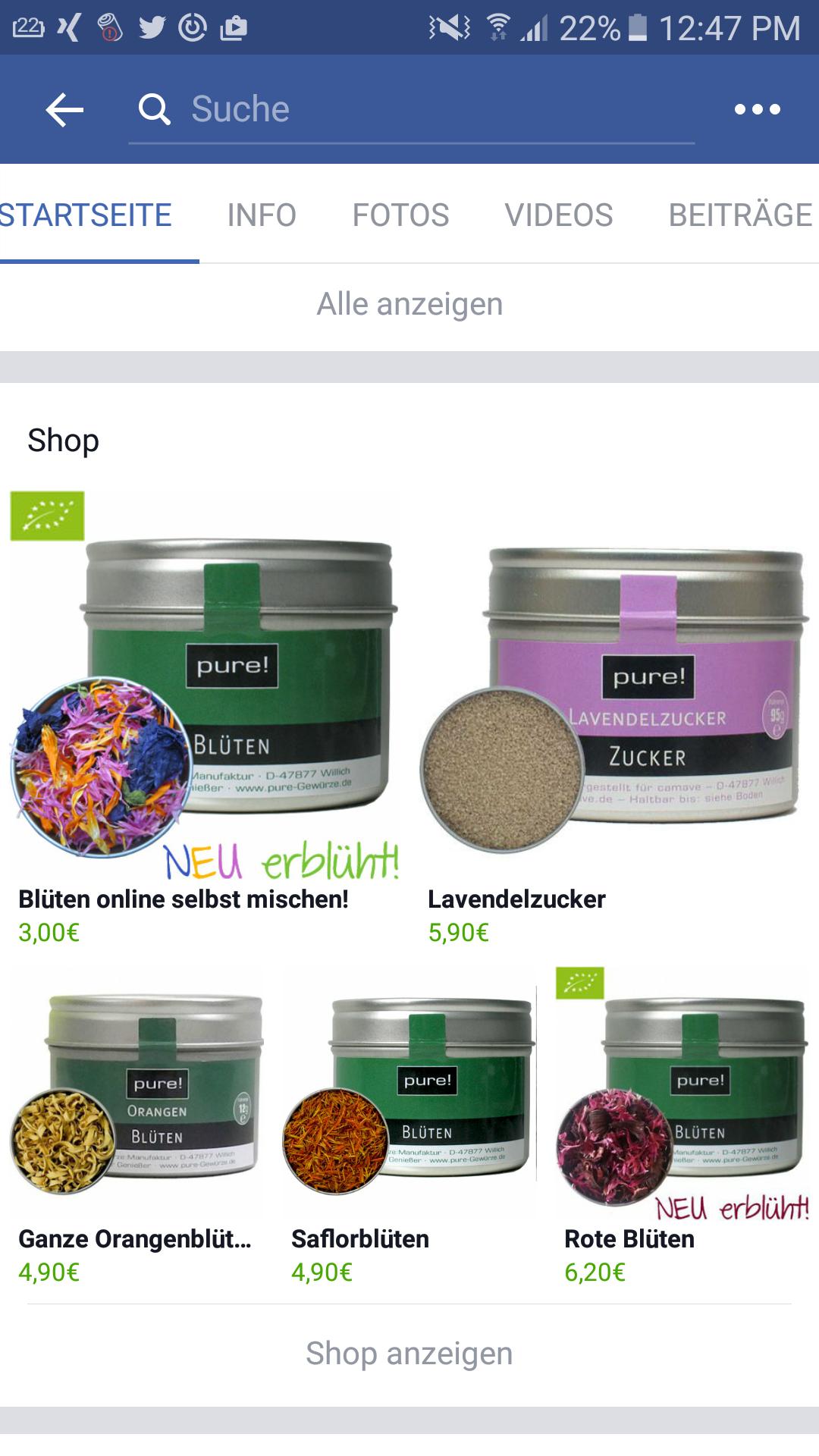 Mobile Übersicht Facebook Shop