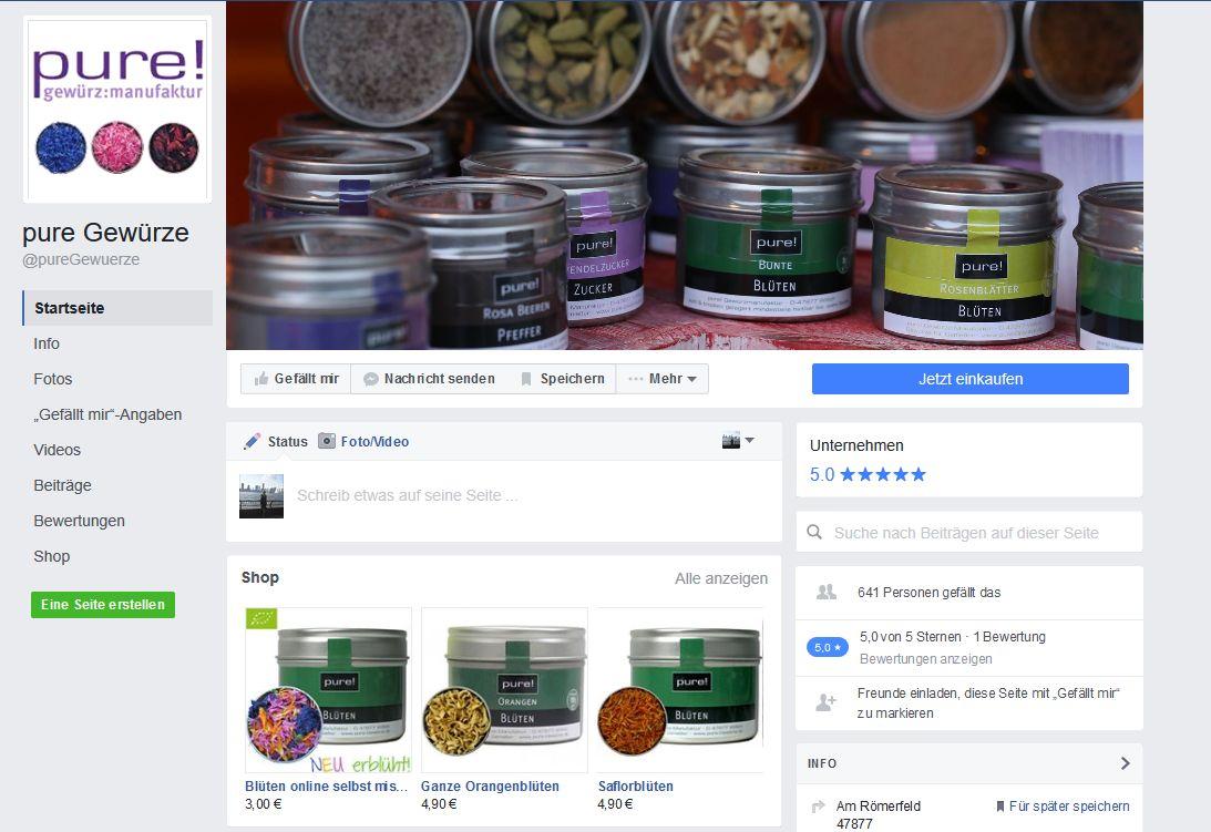 Facebook Shop auf der Fanseite