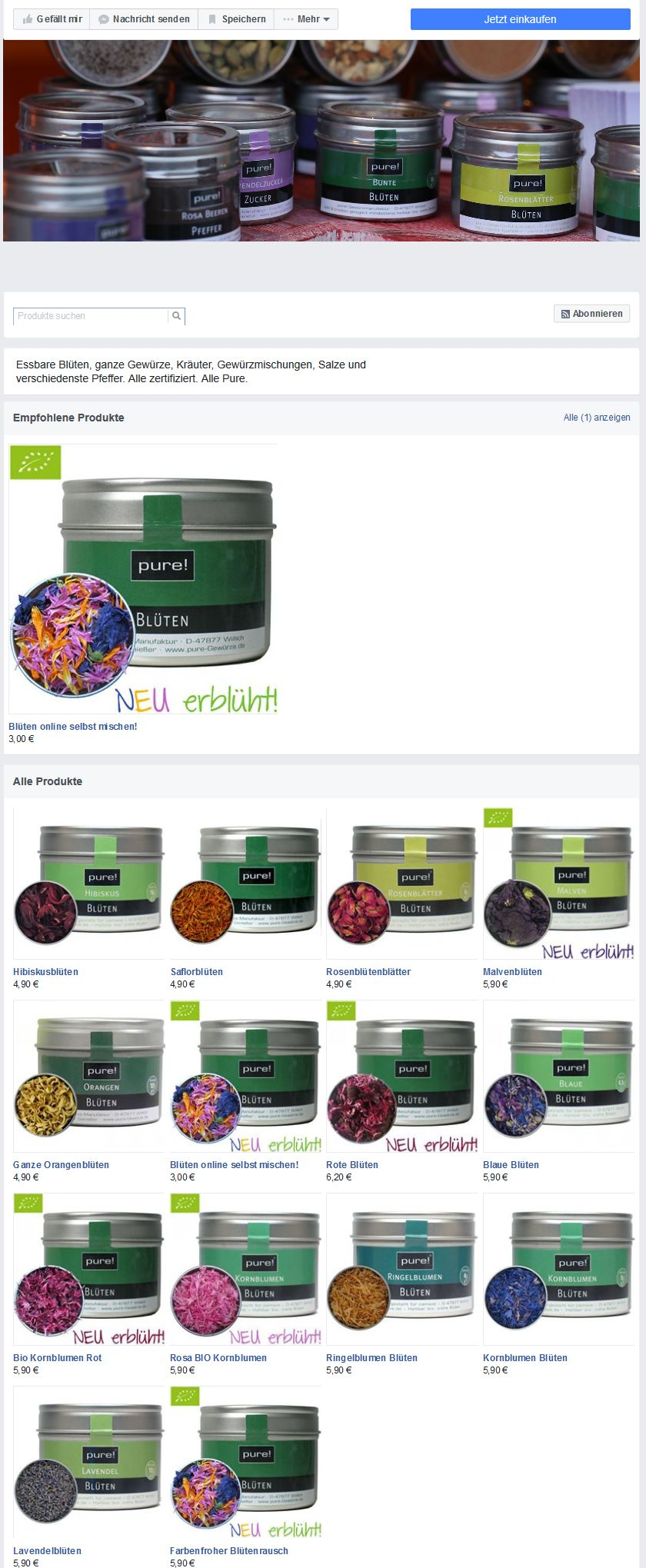 Facebook Shop Übersicht