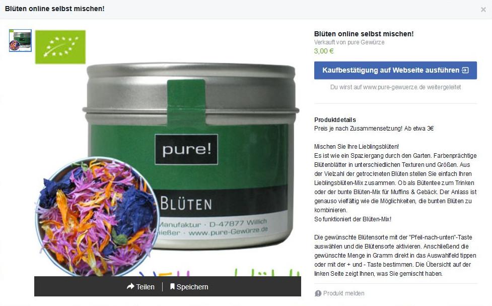Produktdetails mit Link auf die Webseite
