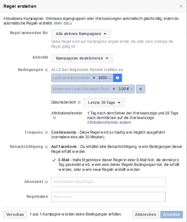 Beispiel automatische Facebook Regeln