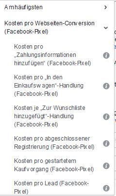 Facebook Bedingungen Webseiten-Conversions